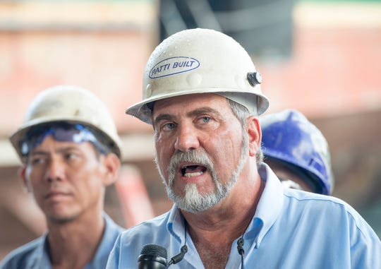Frank Patti Jr., president of Patti Marine Enterprises, announces a $449,231 grant from the U.S. Department of Transportation's Maritime Administration during a press conference at the Patti Shipyard in Pensacola on Tuesday.