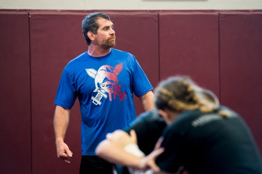 Chris Haines coaches a practice at Gettysburg Area High School on Thursday, July 26, 2018. Haines is the head coach at Gettysburg and coaches at Gladiator Wrestling with his brother, Ken Haines.