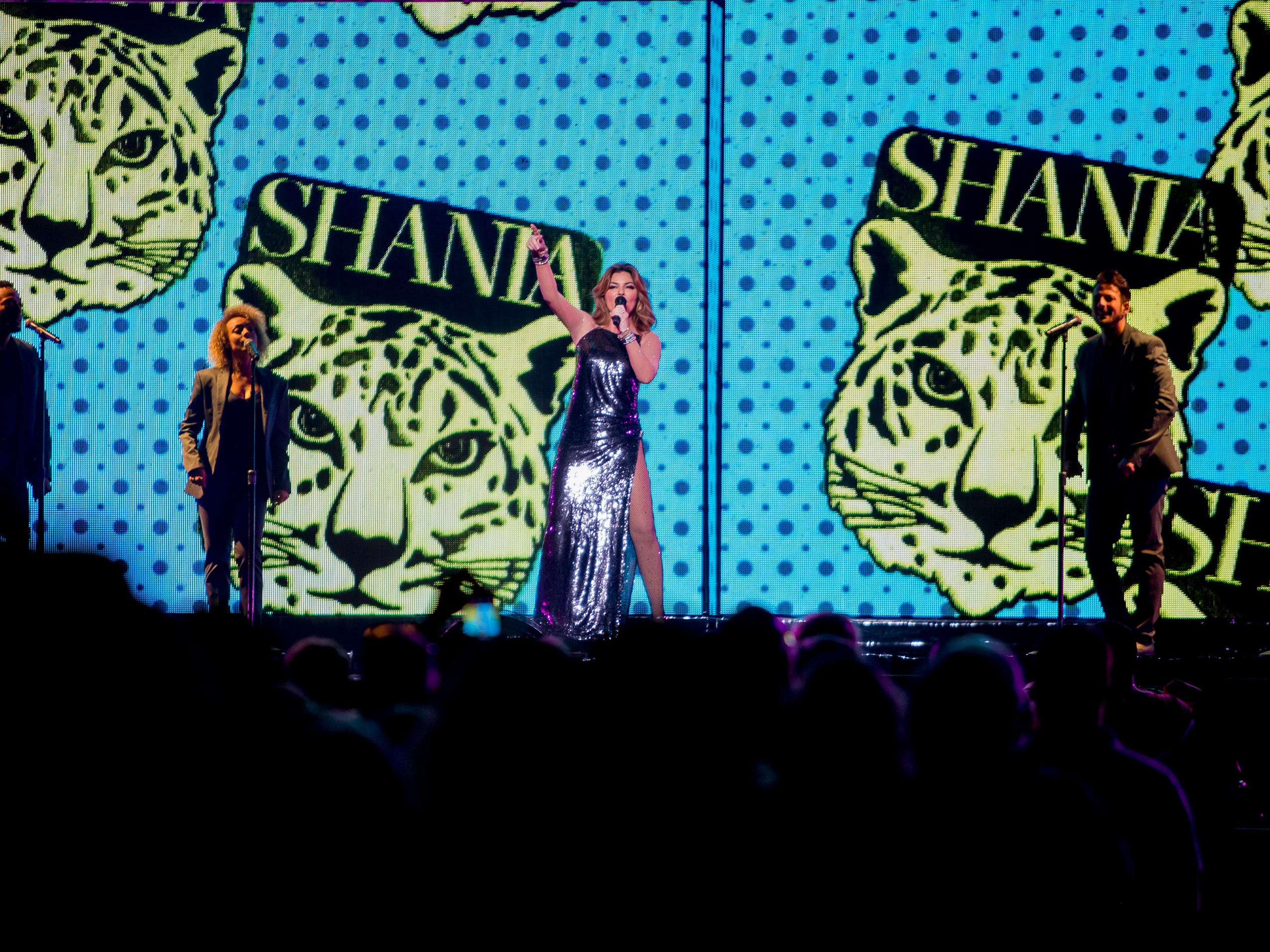 Shania Twain (center) performs on July 30, 2018, during the Shania Twain: NOW concert at Talking Stick Resort Arena in Phoenix, Arizona.