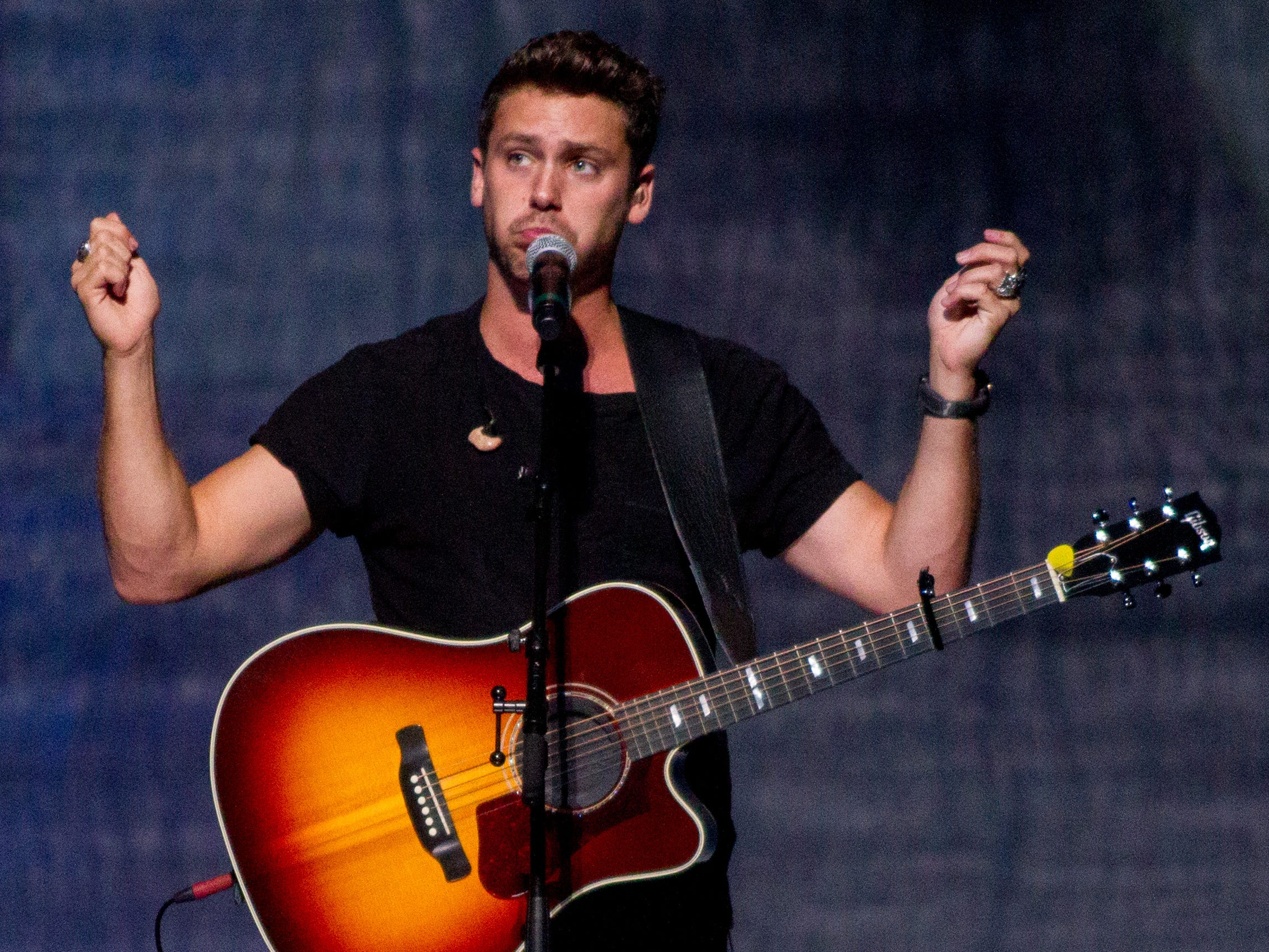 Bastian Baker performs on July 30, 2018, while opening for the Shania Twain: NOW concert at Talking Stick Resort Arena in Phoenix, Arizona.