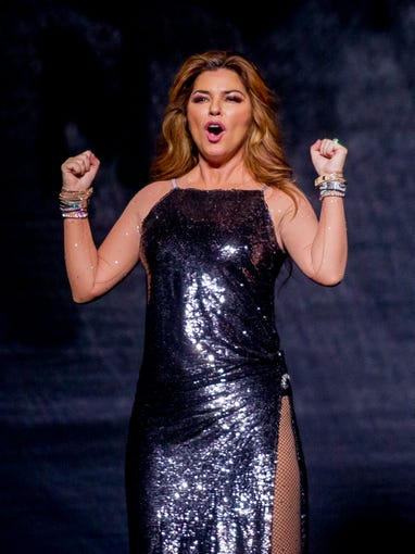 Shania Twain reacts to the crowd on July 30, 2018, during the Shania Twain: NOW concert at Talking Stick Resort Arena in Phoenix, Arizona.