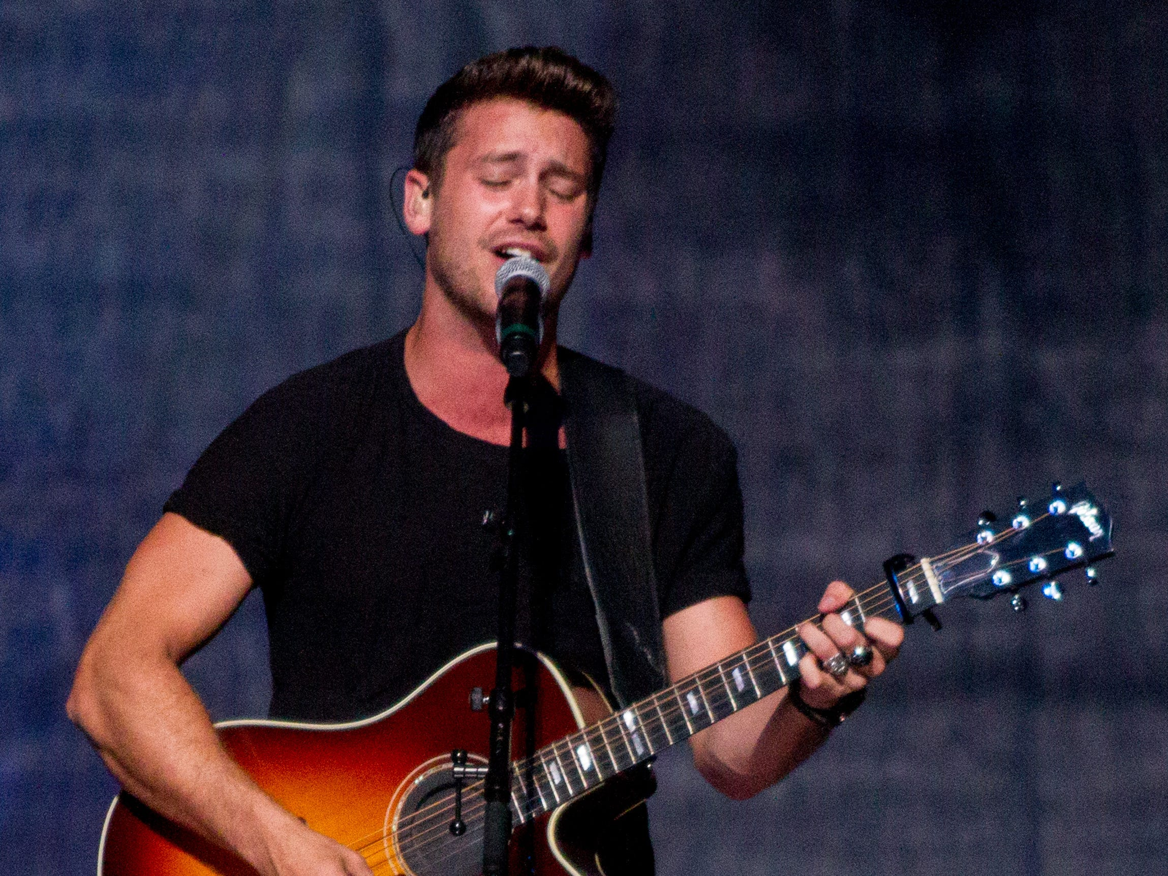 Bastian Baker performs on July 30, 2018, while opening for Shania Twain at Talking Stick Resort Arena in Phoenix, Arizona.