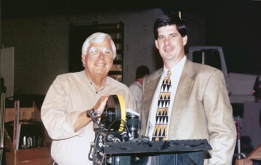 Ed Lane behind the camera on a 1993 Cox Communications commercial shoot. His son and current Lane Terralever CEO, Beau Lane, joins him.