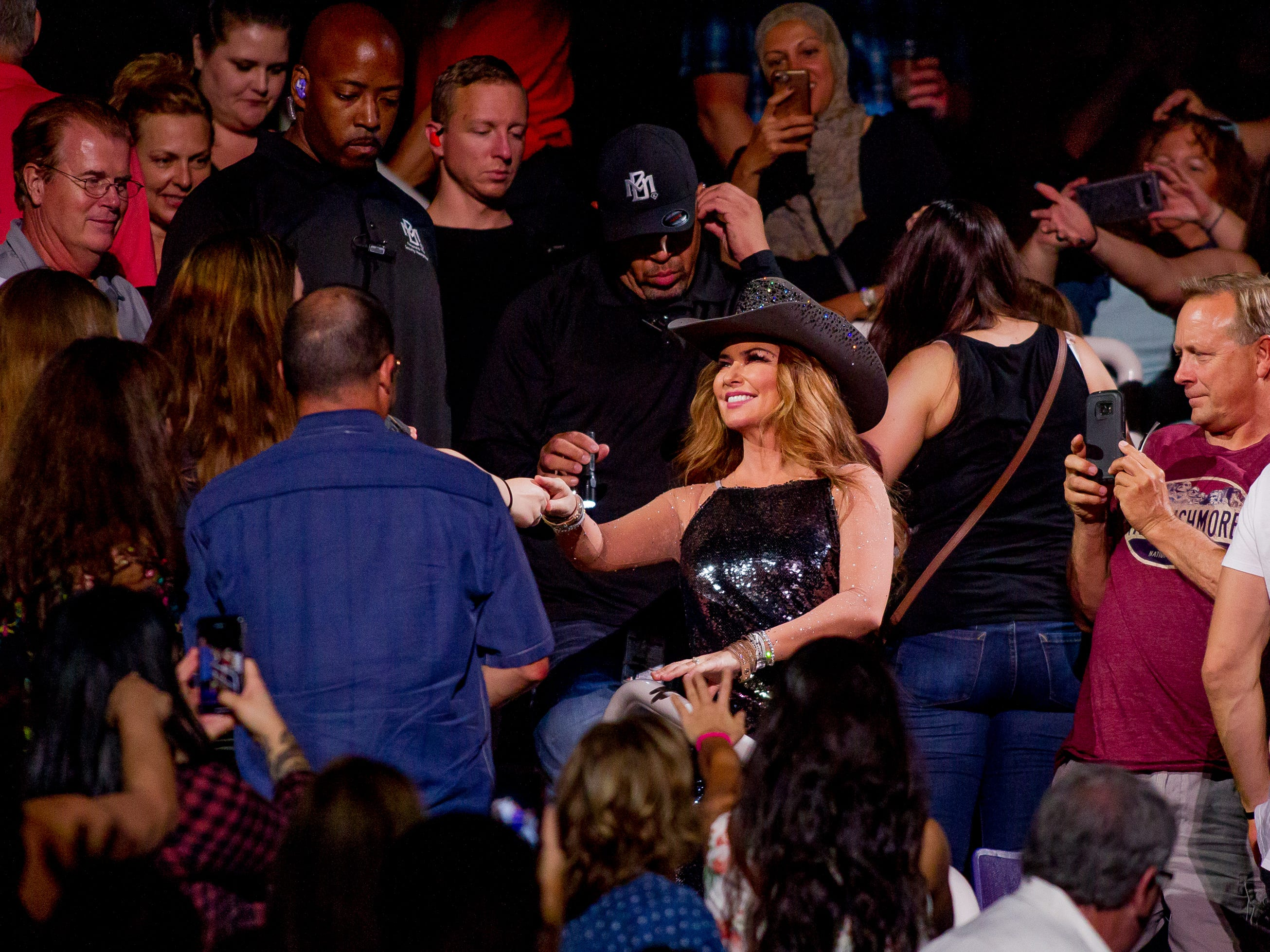Shania Twain welcomes fans on July 30, 2018, during the Shania Twain: NOW concert at Talking Stick Resort Arena in Phoenix, Arizona.