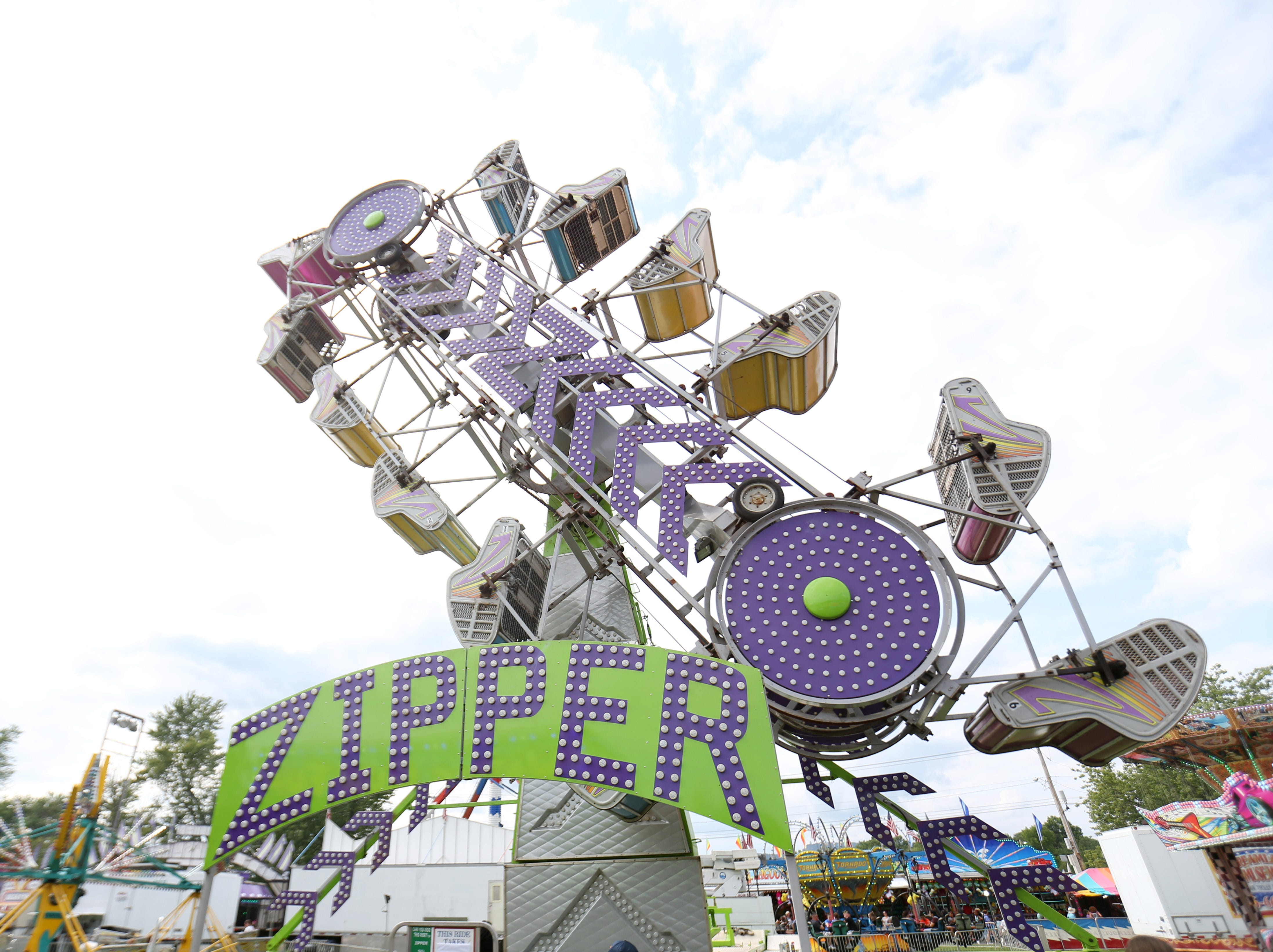 The Zipper zips during the Ulster County Fair in New Paltz on July 31, 2018.