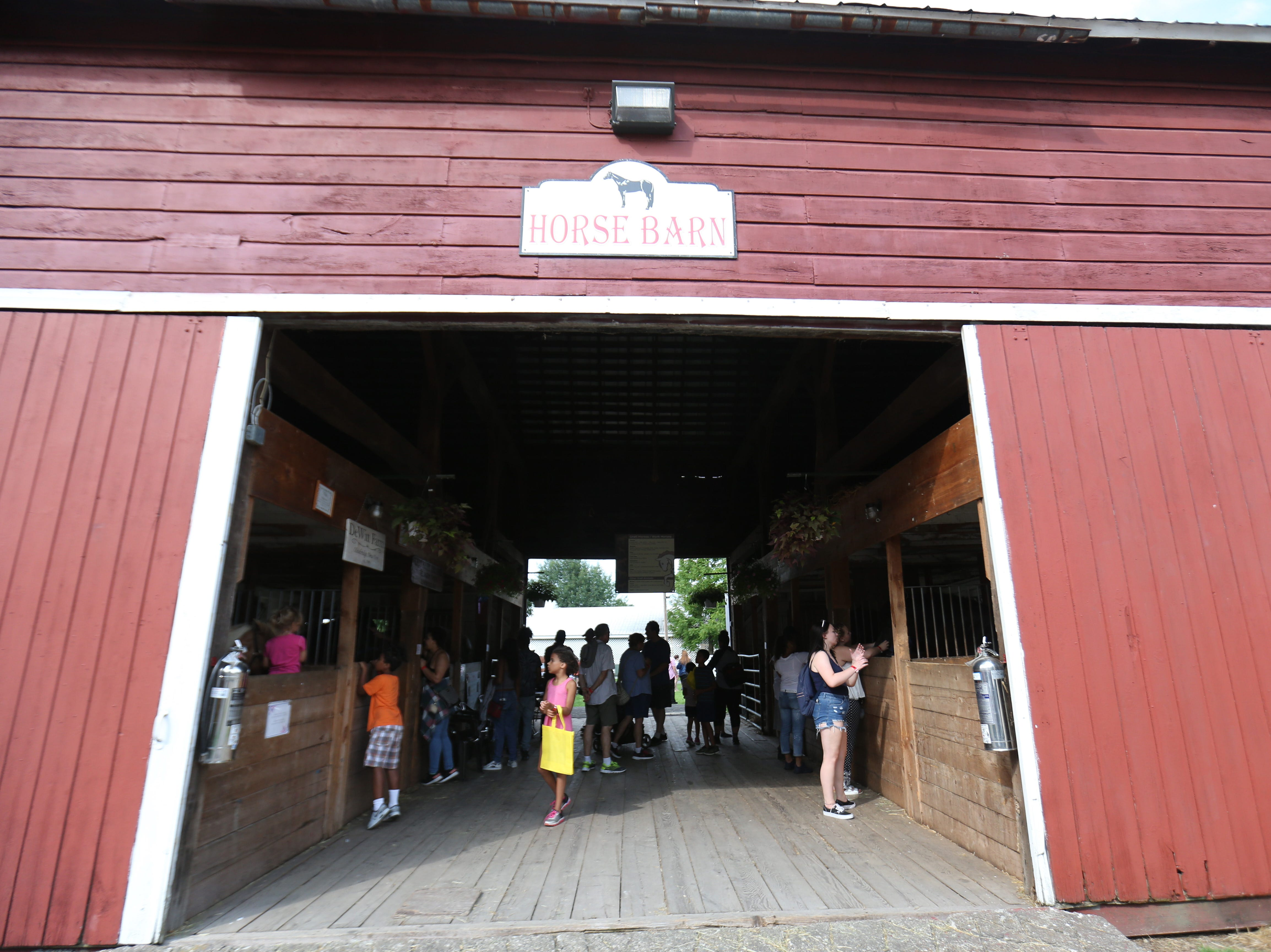 The horse stables at the Ulster County Fair in New Paltz on July 31, 2018.