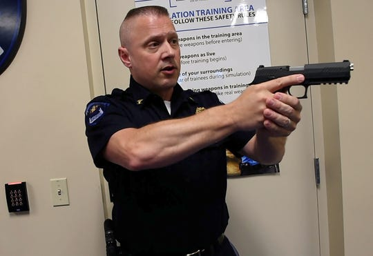 Fairview Township Police Chief Jason Loper speaks about the newly obtained Ti Training Use-of-Force Simulator, along with the weapons used, and how it will be helpful to continually train the township police on a consistent basis.