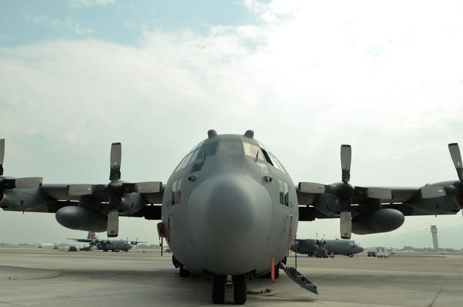 A Nevada Air National Guard 152nd Airlift Wing C-130 at the Reno-Tahoe International Airport. Two aircraft like it, equipped with a special firefighting system, were deployed to help fight the Northern California wildfires.