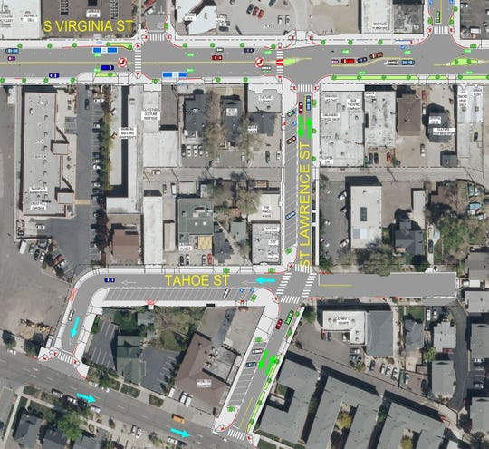 A Regional Transportation Commission rendering of St. Lawrence and Tahoe streets after the Virginia Street rebuild project finishes in 2020.
