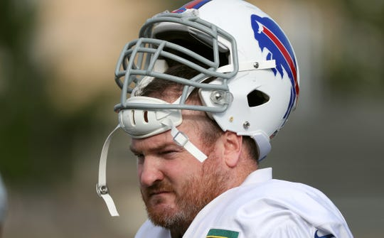 Bills fan favorite Kyle Williams  before a summer practice at St. John Fisher College.