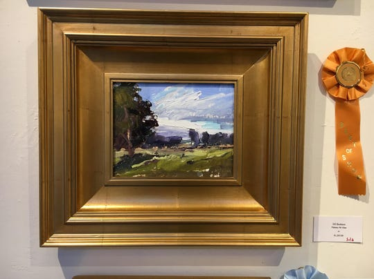 """The Best of Show Winner at Door County Plein Air, chosen by judge C.W. Mundy, was """"Plateau Road View"""" by Jill Basham, an EnPleinAir TEXAS alumni from Maryland who won the 2016 Artists Choice Award in San Angelo."""