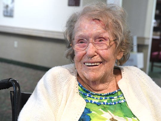 Mary Ryan, who recently celebrated turning 105, shares details about her life during an interview at Kings Daughters Community Health and Rehabilitation Center in Staunton on Monday, July 30, 2018.