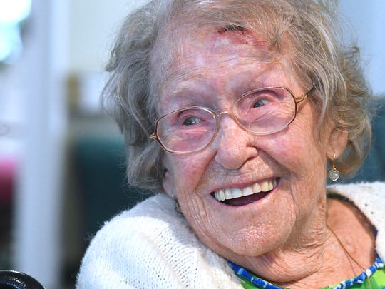Mary Ryan, age 105, tells jokes during an interview at Kings Daughters Community Health and Rehabilitation Center in Staunton on Monday, July 30, 2018.