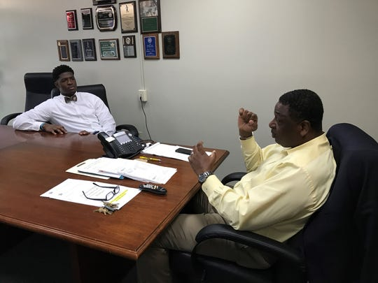 Florida State defensive end Joshua Kaindoh meets with Gadsden County Sheriff Morris Young as a part of his internship with the Florida Osteopathic Medical Association