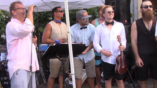 Lee Olsen, left, Erik Toomsoo , Ellis Baker, Zach Weinstein, and Shaun Dibble at the 2017 Barefoot Beach Ball at Waldo's Restaurant in Vero Beach.