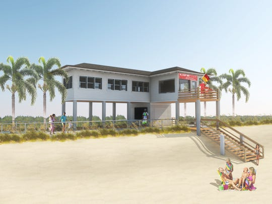 Artist rendering of thenew guard house the Vero Beach Lifeguard Association would like built at Humiston Beach.
