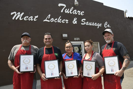 Danny Mendes, Tulare Meat Locker owner, took home top honors in several categories during the American Cured Meat Championships in Kansas City. His crew has been working on the selections for months.