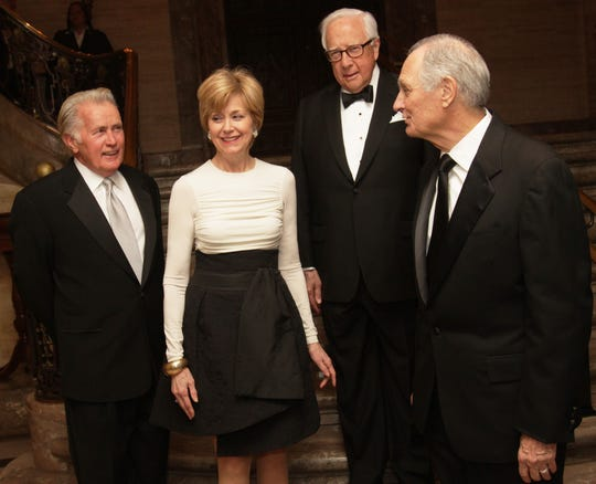 Common Wealth Award recipients (from left) Martin Sheen, Jane Pauley, David McCullough and Alan Alda gather for a photograph at a reception at the Hotel DuPont, Saturday, April 20, 2013.
