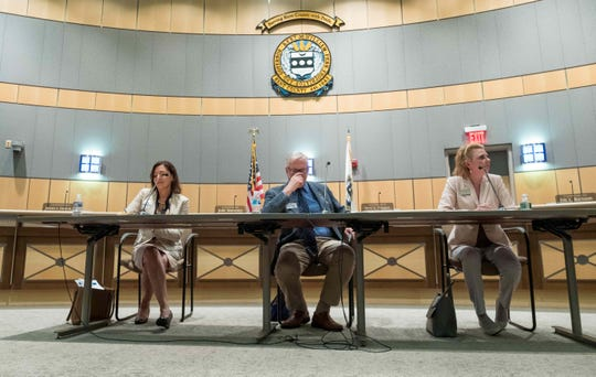 Democratic state auditor candidates (from left) Kathy K. McGuiness, Dennis E. Williams, and Kathleen Davies debate at the Kent County Administration Building in Dover.