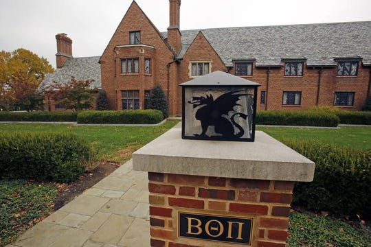 FILE - This Nov. 9, 2017, file photo shows the shuttered Beta Theta Pi fraternity house on Penn State University's main campus in State College, Pa.