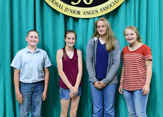 Wisconsin junior members won first place in the junior division of the quiz bowl at the 2018 National Junior Angus Show (NJAS) Awards Ceremony, July 12 in Madison, Wis. Pictured from left are Ty Gaffney, Barneveld; Hailey Jentz, Fennimore; Kelly Gaffney, Barneveld; and Ava Leibfried, Hazel Green.