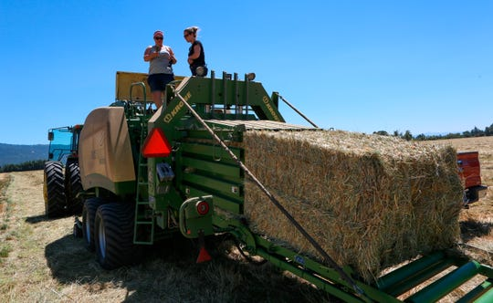 In this Wednesday, July 11, 2018 photo, Marie Bowers, left, checks out a bailer machine on her family's property in Coburg, Ore. Marie Bowers never thought she would spend her life working on a farm. But the 32-year-old woman who graduated from college and started a career in the financial industry  has returned to her roots as a family farmer.