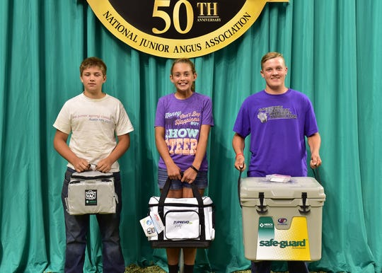 These junior members won top honors in the junior division of the skill-a-thon contest at the 2018 National Junior Angus Show (NJAS) Awards Ceremony, July 12 in Madison, Wis. Pictured from left are John Swanek, Dexter, Minn., third; Sydney Sanders, Leesburg, Ohio, second; and Ethan Lulich, Lyndon Station, Wis., first.