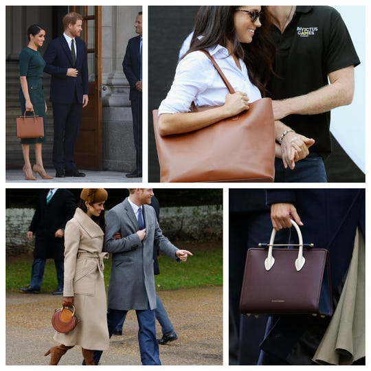 A sampling of Duchess Meghan's bags, including (clockwise) Strathberry, Everlane, Strathberry and Chloe.