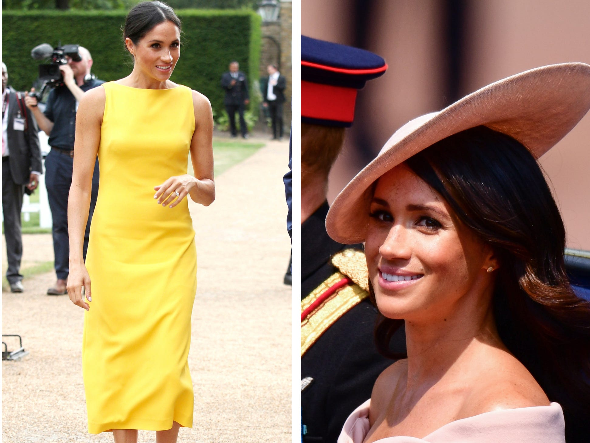 Duchess Meghan's hems are longer since the royal wedding, but she's flaunting convention by baring her shoulders.