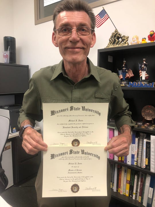 After his children were grown, former Marine Michael Davis, now 62, decided at the age of 54 to fulfill his dream of going back to school for a bachelors and masters degree.