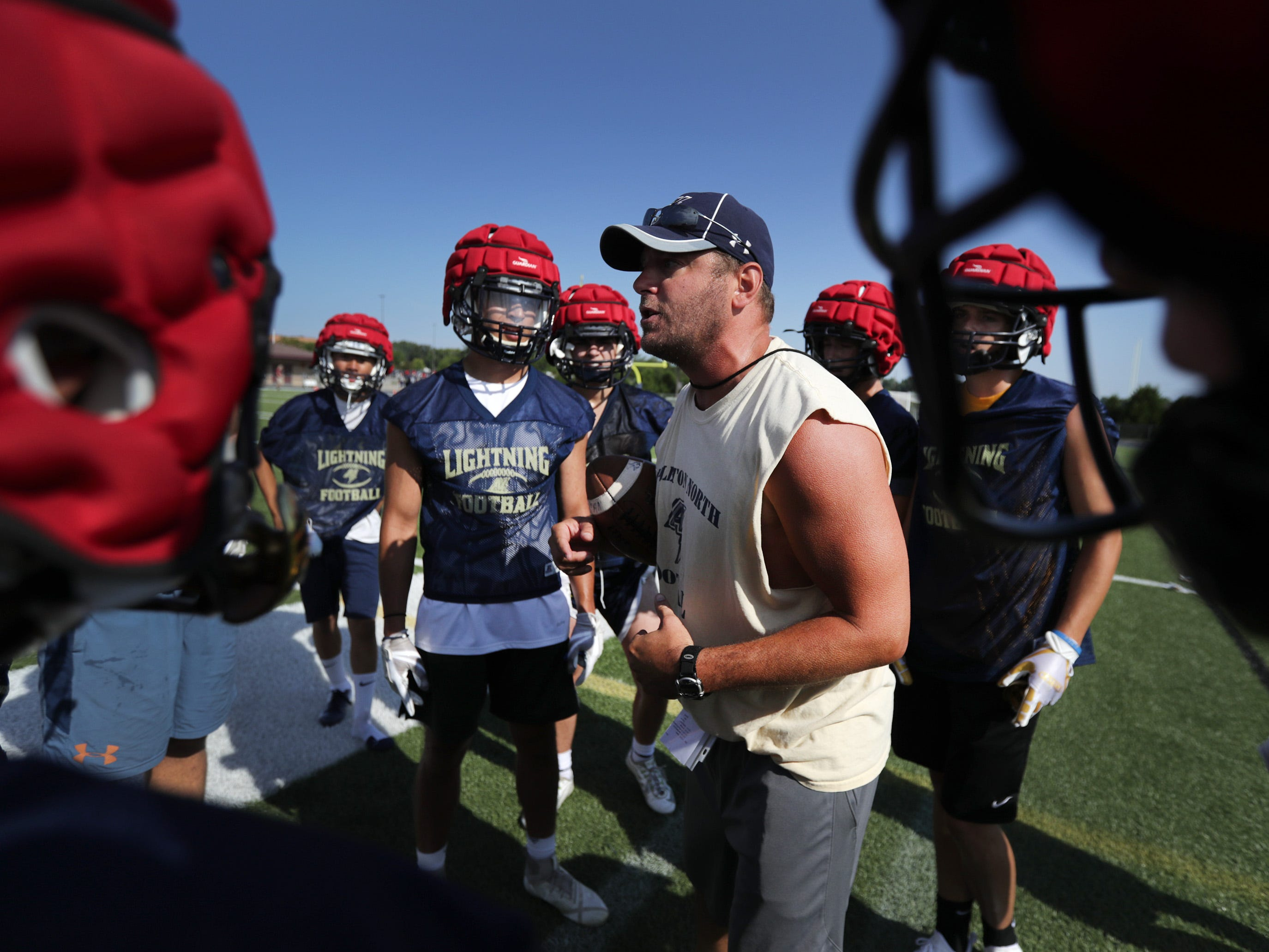Appleton North Lightning's defensive back coach Matt Belowski during practice on Wednesday August 1, 2018 at Appleton North High School in Appleton Wis.