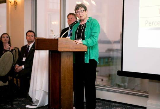 """McFarland resident Sheila Plotkin wins the Citizen Openness Award (""""Copee"""") for a public records project examining the widespread public opposition to the Legislature's eventual dismantling of the Government Accountability Board, results of which were posted online at We, the Irrelevant. The award was given at the Wisconsin Watchdog Awards at the Madison Club in 2016."""