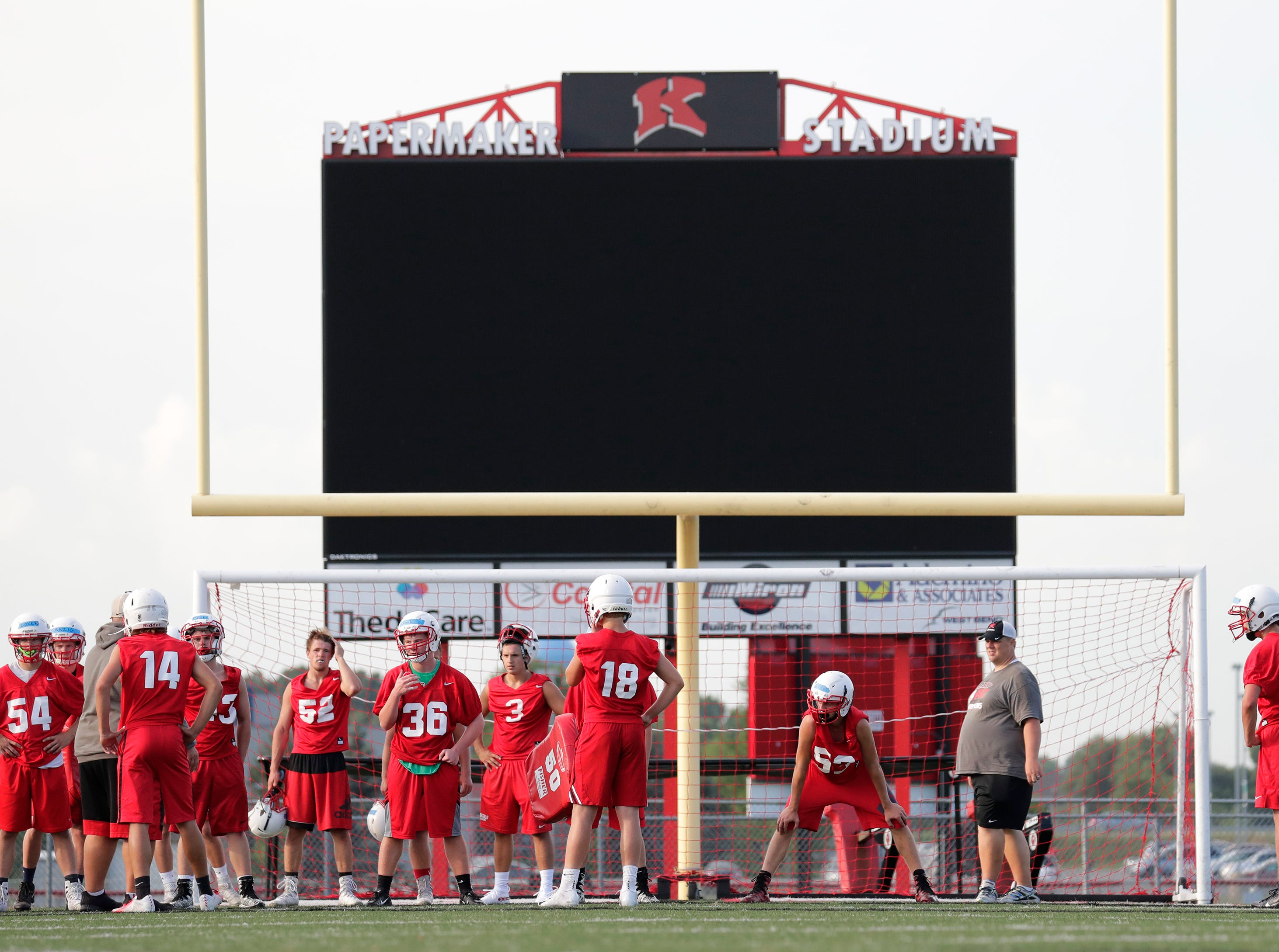 The Kimberly High School football practice Wednesday, August 1, 2018, at Papermaker Stadium in Kimberly, Wis. 