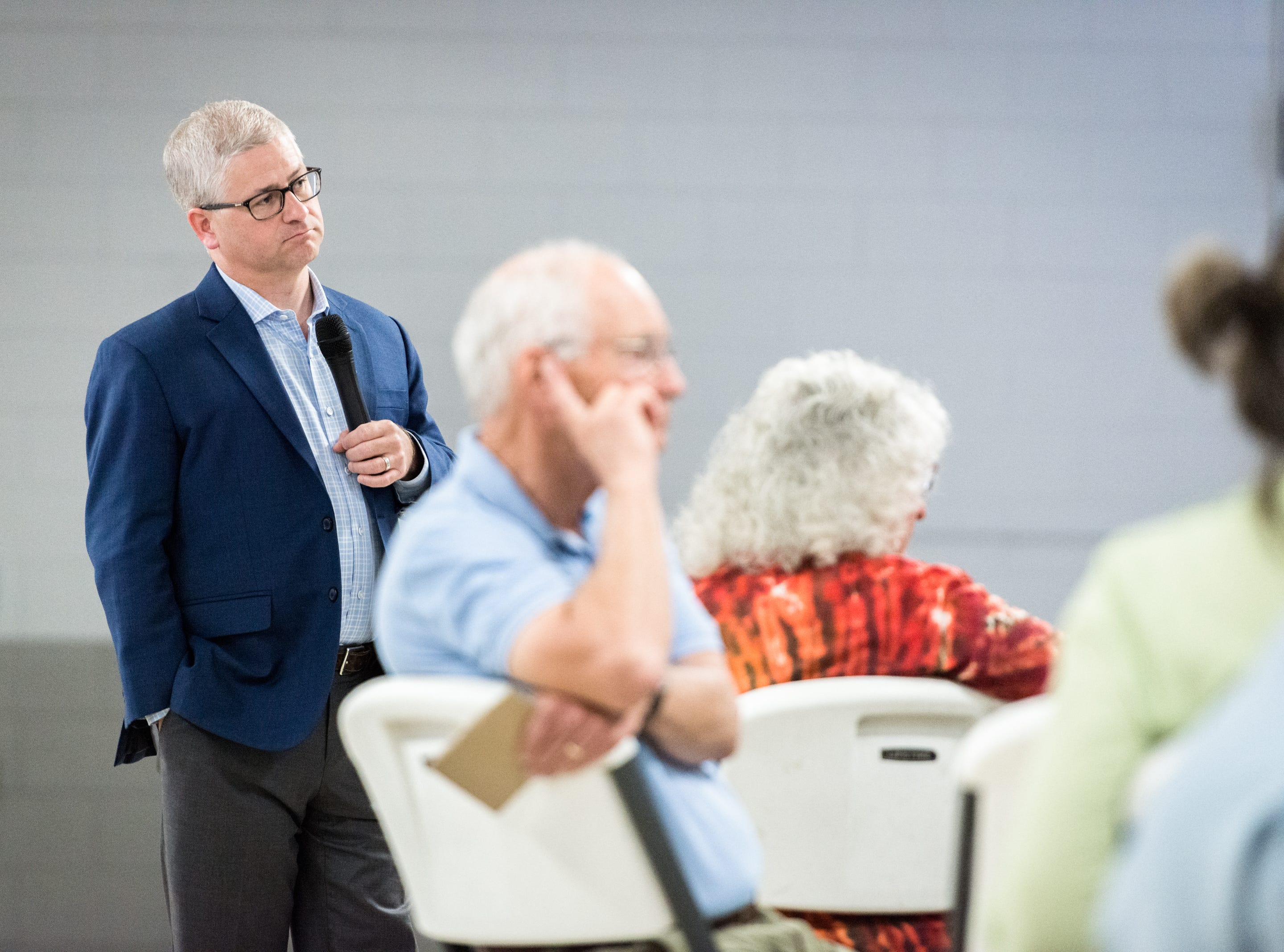 Patrick McHenry, the U.S representative for North Carolina's 10th congressional district, listens to questions during the town hall meeting at the Riceville Volunteer Fire Department Wednesday, August 1, 2018.