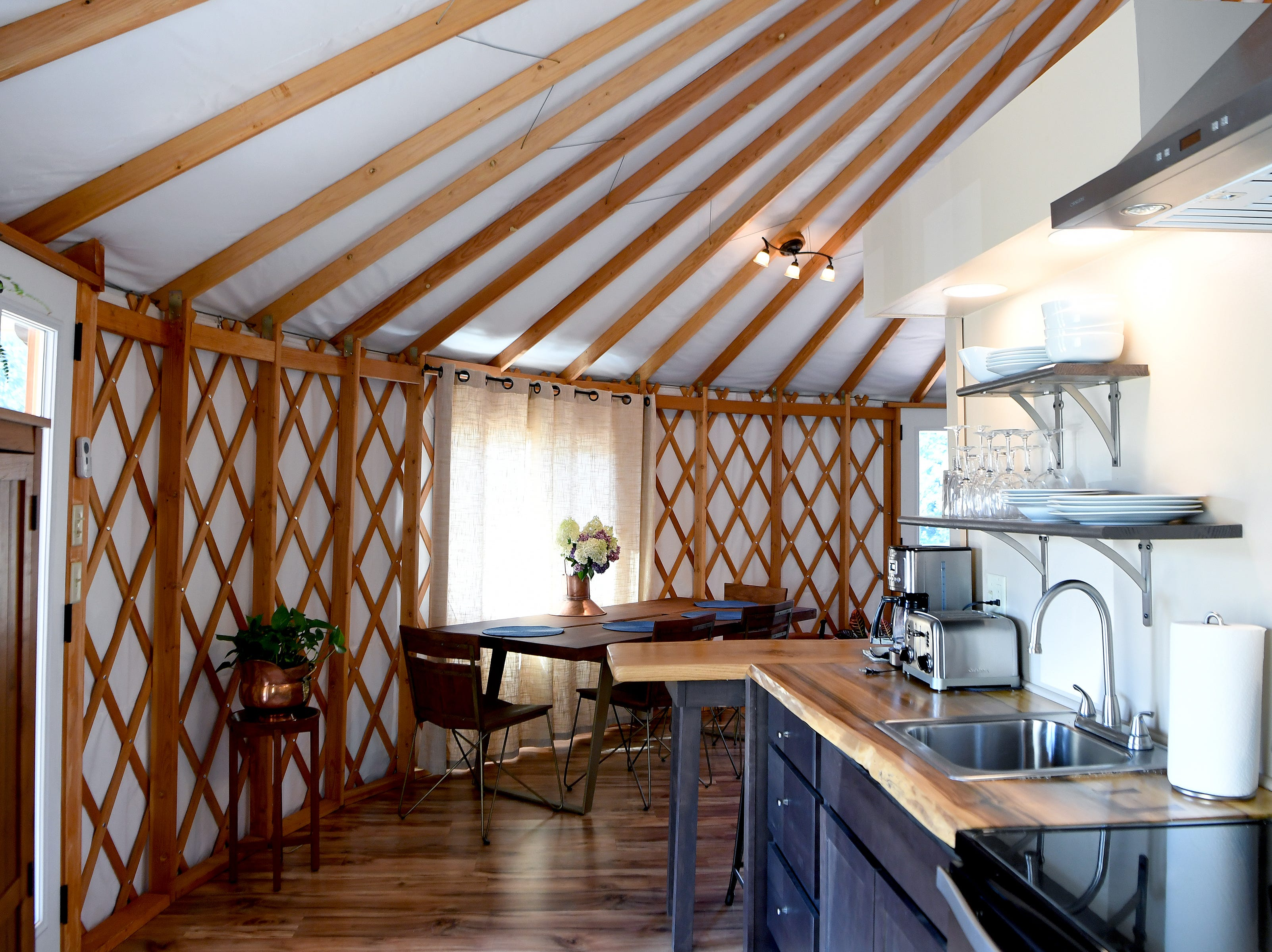 The kitchen of the Yin Yurt, an AirBnB rental on Ricardo Fernandez's property in Clyde.