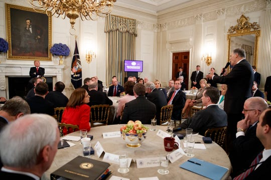 Washington Gov. Jay Inslee, right, speaks about school safety during an event with President Donald Trump and members of the National Governors Association at the White House in Washington in February.