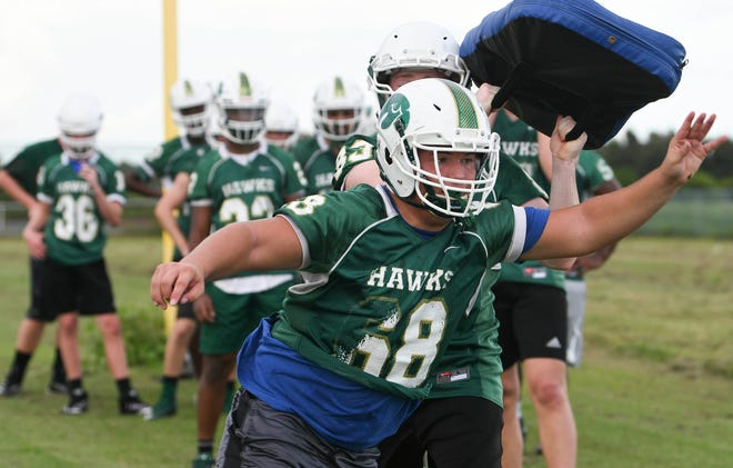 Viera High football players work out Tuesday during practice at the school.
