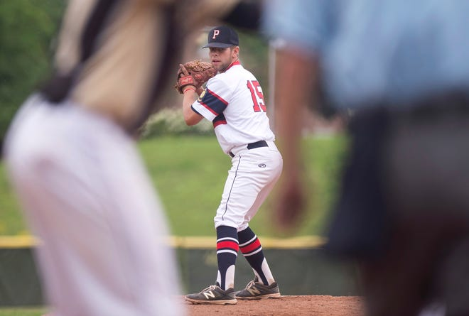 Post 91 pitcher Maverick King stands on the mound against the Colchester Cannons in the American Legion baseball state championship on Wednesday at Castleton University.
