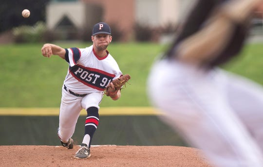 Post 91 pitcher Maverick King fires to the plate against the Colchester Cannons in the American Legion baseball state championship on Wednesday at Castleton University.