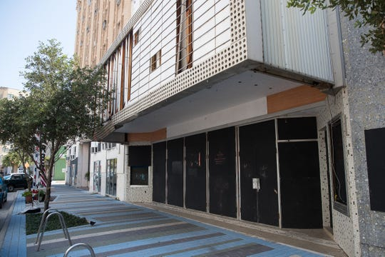 A boarded-up building on Chaparral Sheet in downtown Corpus Christi on Wednesday, Aug. 1, 2018.