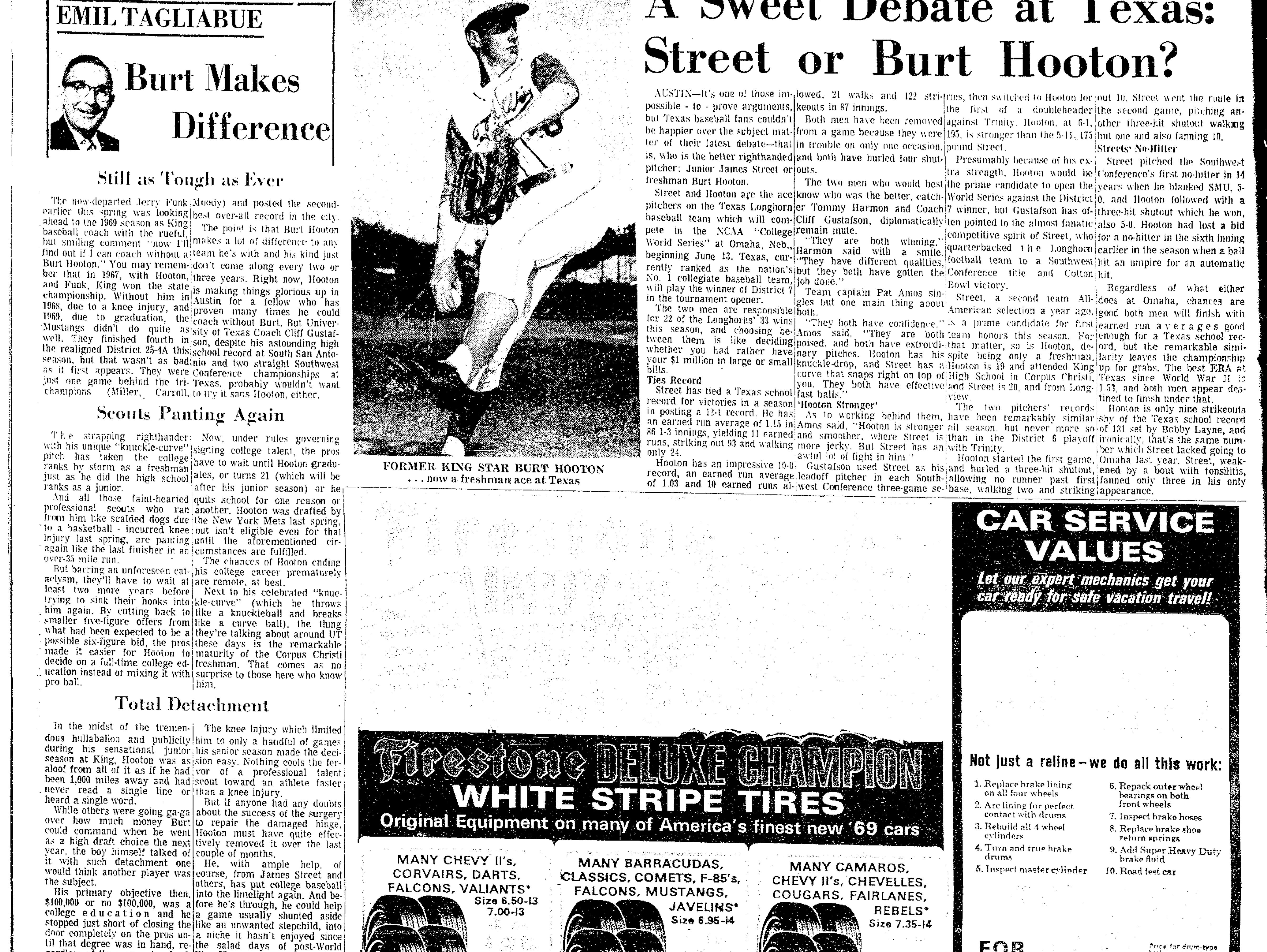 Article on Burt Hooton from June 1, 1969 Caller-Times.