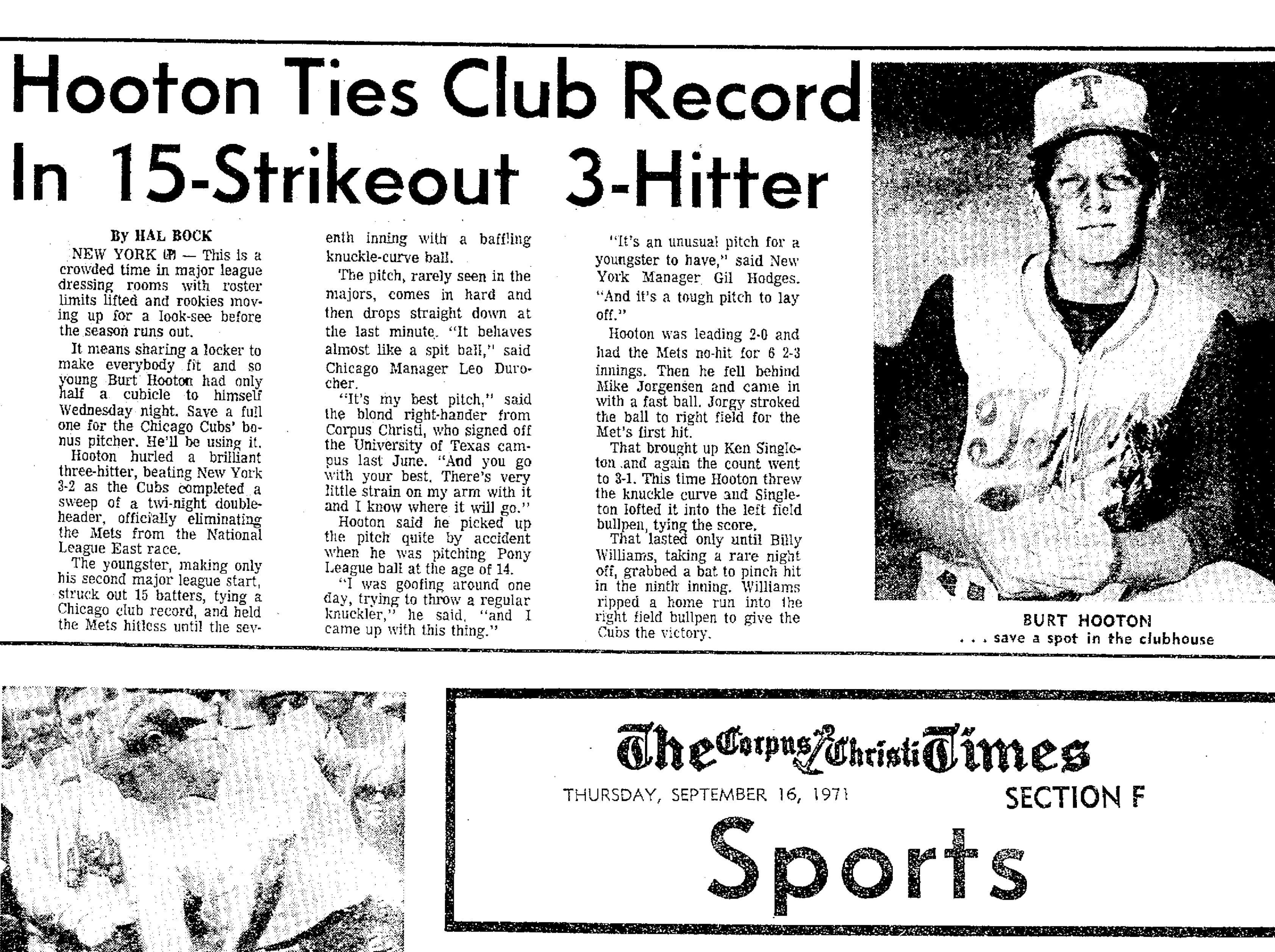 Article on Burt Hooton from the Sept. 16, 1971 Corpus Christi Times.