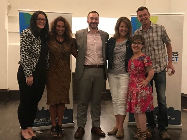 """The Cincinnati Enquirer Storytellers Project welcomes speakers to the July 31 """"Away we go"""" night to discuss their individual journeys through travel. They are, from left:  Mirsada Kadiric, Jennifer Mooney, Dan Wallace, Tina Neyer,  Sallee Ann Ruibal and Rick Wolf."""