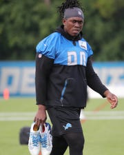 Lions defensive end Ziggy Ansah during practice during training camp on Wednesday, Aug. 1, 2018, in Allen Park.