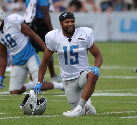 Lions receiver Golden Tate stretches during practice during training camp on Wednesday, Aug. 1, 2018, in Allen Park.