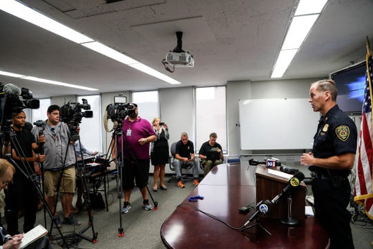 Royal Oak Police Chief Corrigan O'Donohue addresses reporters regarding an officer involved fatal shooting in April 2018 during a press conference at the Royal Oak police headquarters in Royal Oak on Wednesday, August 1, 2018.