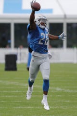 Lions defensive back Quandre Diggs goes through drills during practice during training camp on Wednesday, Aug. 1, 2018, in Allen Park.