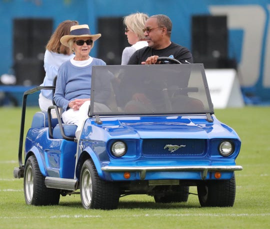Lions owner Martha Firestone Ford leaves the field after practice during training camp on Wednesday, Aug. 1, 2018, in Allen Park.