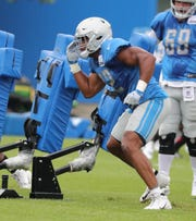 Lions linebacker Devon Kennard goes through drills during practice during training camp on Wednesday, Aug. 1, 2018, in Allen Park.