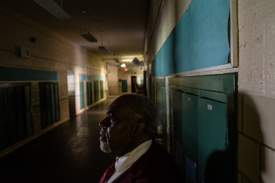 """""""It hurts. It really does. Because you work hard to try to reach out to the people and then to go through this, it's something. Because it affects more than just the building. It affects our personal lives,"""" said Apostle Michael Beasley while standing in a dark hallway inside the defunct elementary school where his church is located, on Wednesday, July 4, 2018."""